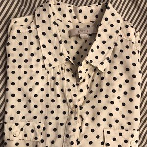 Navy and cream polka dot button down!